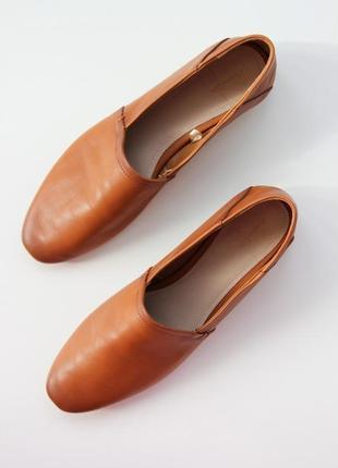 Кожаные туфли лоферы massimo dutti