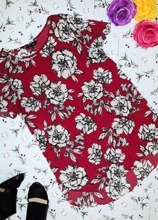 🎁1+1=3 фирменная яркая бордовая блуза блузка цветочный принт new look, размер 44 - 46