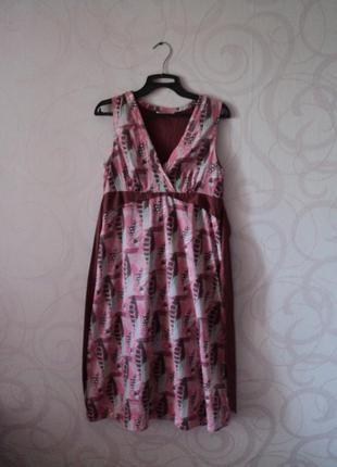Платье с принтом в листочки, летнее платье на каждый день, розовое платье на лето