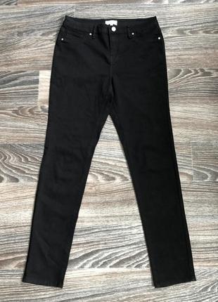Черные хлопковые стрейчевые джинсы классические брюки штаны с высокой талией от warehouse