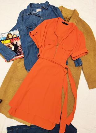 Дороти перкинс платье рубашка на поясе оранжевое