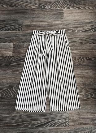 Белые и черные брюки брючки с завязкой бант бантик зара от zara trafaluc collection