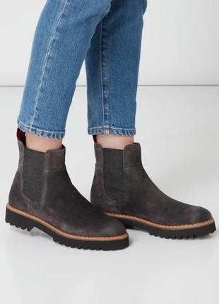 Фирменные замшевые коричневые  ботинки челси chelsea boots marc o polo marco polo