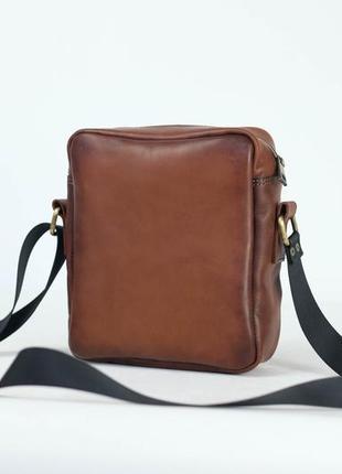 🔥 мужская кожаная сумка, сумка через плечо, №38, итальянская кожа краст, цвет коричневый