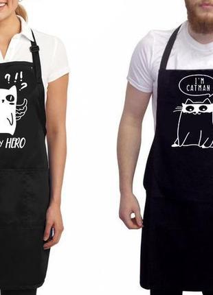 """Фа000281парные фартуки с принтом """"i'm catman. you my hero"""""""