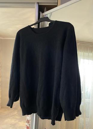 Черный мягкий кашемир свитер кофта теплая