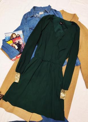 Асос платье зелёное изумрудное бутылочное шифон на подкладке с золотыми рукавами