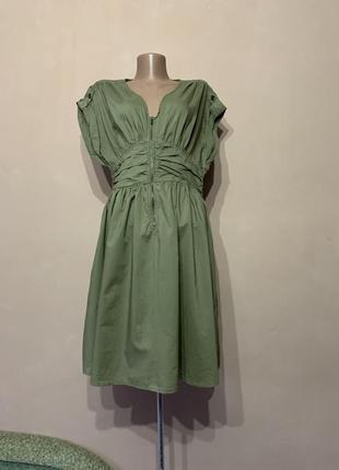 Стильное платье цвет хаки сафари зелёное хлопок катон хлопковое