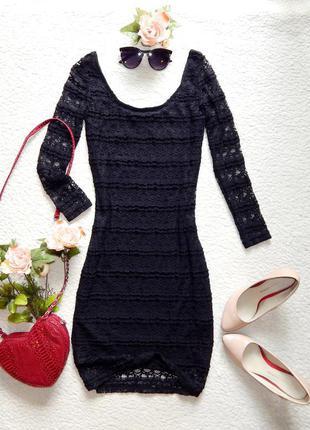 Стильное маленькое кружевное черное платье atmosphere