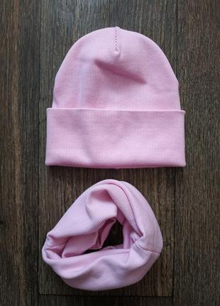Комплект шапка и снуд, хомут 1-3 года, ткань в рубчик