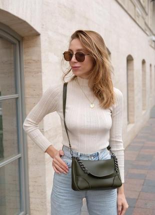 Оливковая женская сумка молодежная через плечо кросс-боди на молнии 62208