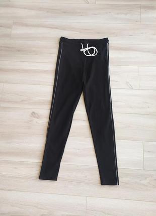 Черные штаны/ лосины с лампасами