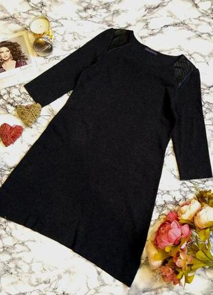 Стильное теплое вискозное платье с вставками кожзама размер 12-14 (42-44)