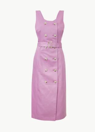 1+1=3 шикарное сиреневое льняное платье сарафан миди marks&spencer, размер 48 - 50
