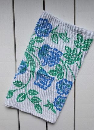 Вафельное кухонное полотенце цветы, ссср, для кухни, рушник кухонний 32х69