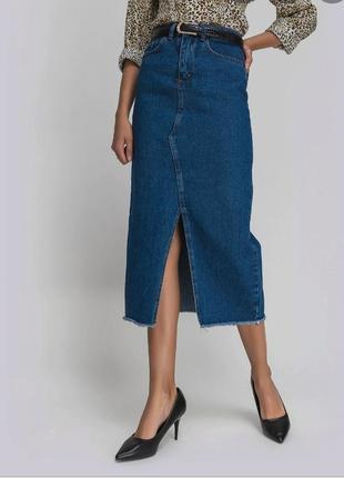 Джинсовая юбка  синяя миди длинная