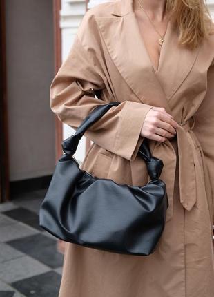 Женская черная модная сумка с ручкой черного цвета