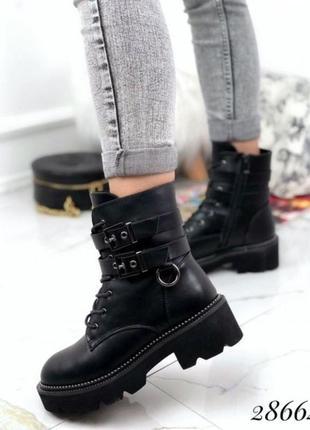 Новые шикарные женские зимние чёрные ботинки