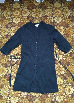 Легкая летняя накидка рубашка черная хб