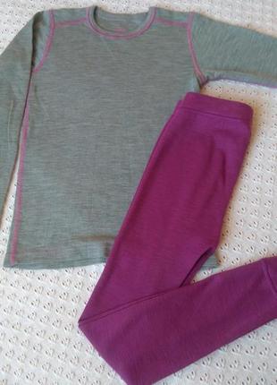 Термобілизна з мериносової шерсті реглан штани термо комплект термобелье леггинсы лонгслив