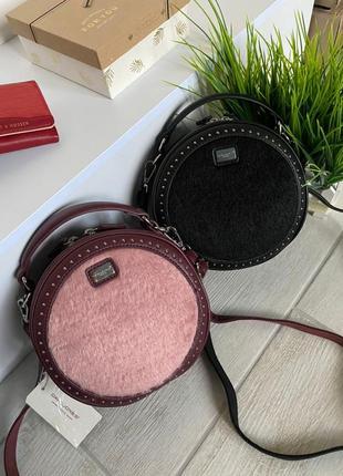 Женская сумка кругляшка дэвид джонс original (чёрный, бордо-пудра)