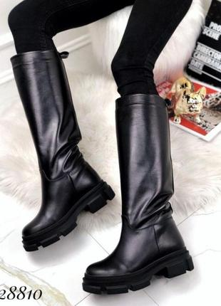 Новые женские кожаные зимние чёрные сапоги трубы  (еврозима)