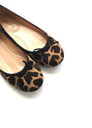 Кожаные балетки с анималистичным принтом жираф леопард кожа пони ann lisson португалия