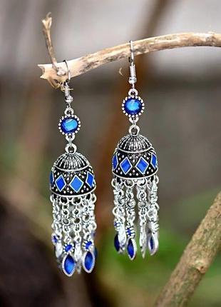 Шикарные индийские восточные серьги с куполом синие