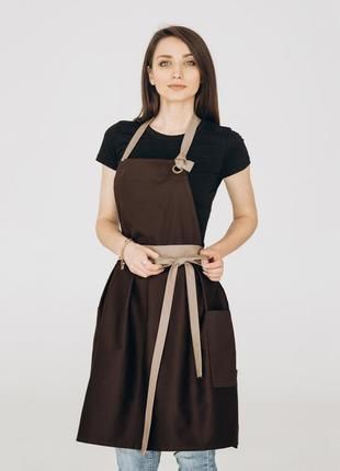 Фартух сукня vanilla / коричневий + беж