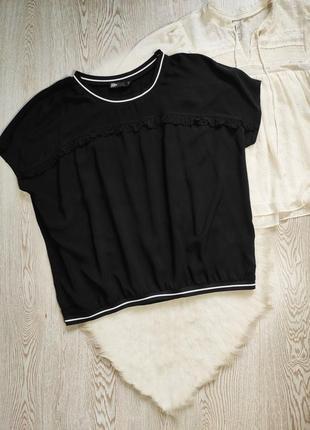 Черная натуральная футболка оверсайз рюшами резинкой снизу женская батал стрейч
