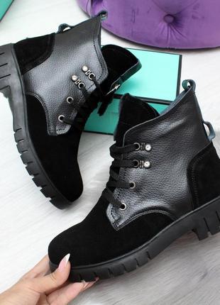 Новые женские зимние чёрные кожаные ботинки