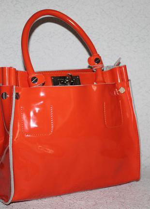 Яркая,сочная кожаная сумка шоппер 100%натуральная кожа