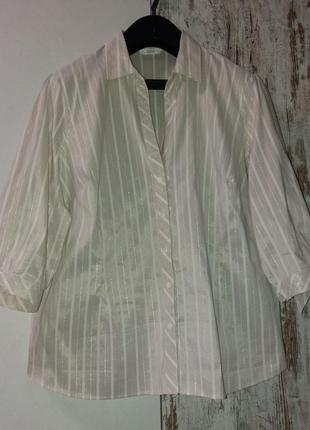 Блуза, рубашка офис супер-стрейчевая marks&spencer (британия) uk/26 очень большой размер