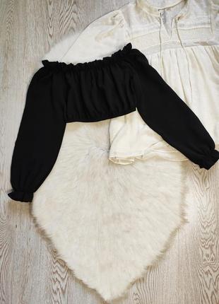 Черный секси кроп топ короткая блуза с рюшами открытые плечи длинный пышный рукав