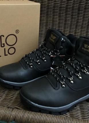 Натуральная кожа мужские зимние ботинки (угги) arrigo bello черные кожаные зимние