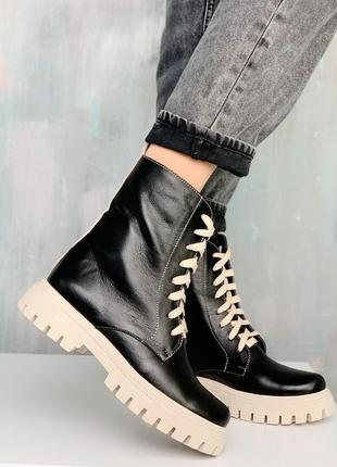 Ботинки кожаные, ботинки демисезонные, ботинки осенние