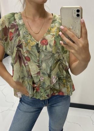 Блузка футболка цветы mango