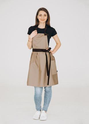 Фартух сукня vanilla /  беж + коричневий