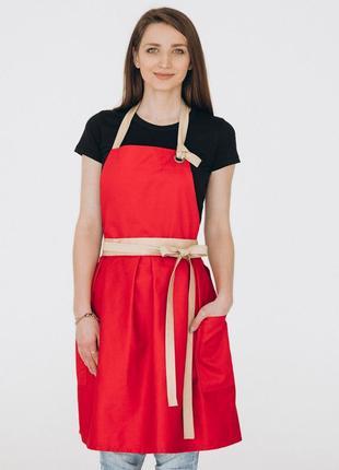 Фартух сукня vanilla / червоний + беж
