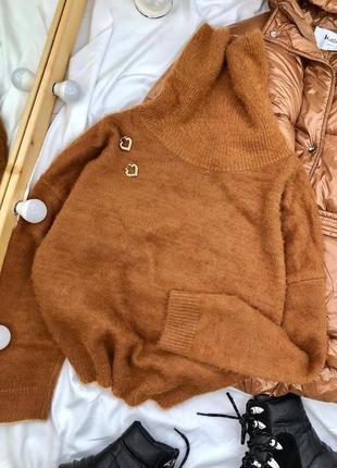 Коричнево рыжеватый мягкий свитерок