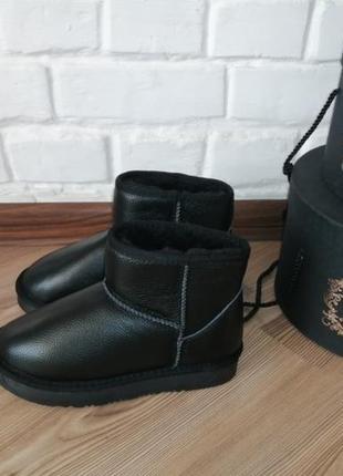 Угги чёрные кожаные