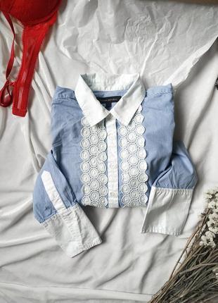 Шткарная женская рубашка с кружевом от крутого бренда