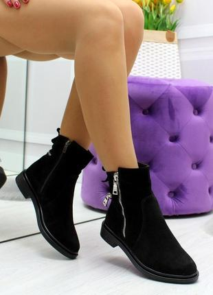 Новые женские замшевые  зимние чёрные ботинки