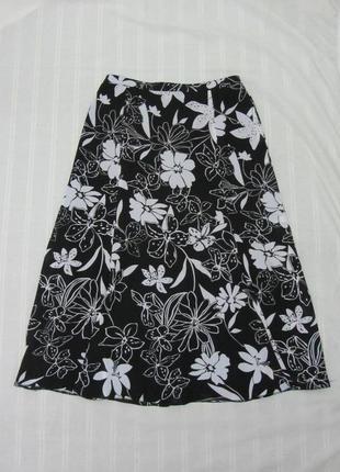 Basler юбка летняя шифоновая длинная размер 40 евро, 14 англ., l черная в белые цветы