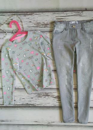 8-9 лет комплект джинсы со стразами реглан лонгслив