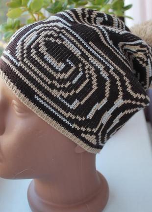 Новая однослойная шапочка, бежево-коричневая