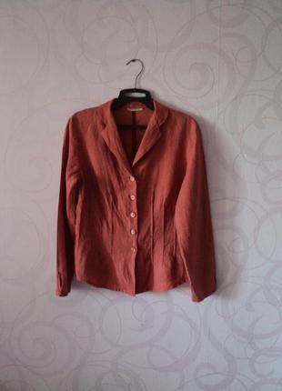 Льняная рубашка, терракотовая рубашка из льна, рубашка на 1 сентября, в школу, в офис