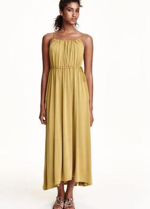Длинный сарафан платье макси h&m горчичного цвета