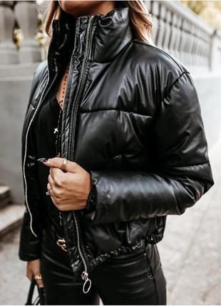 Очень крутая куртка теплая из эко кожи