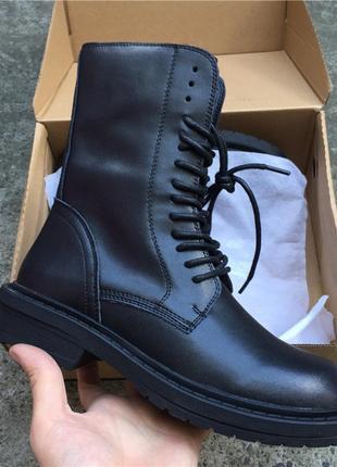 Кожаные грубые ботинки с утеплением и без